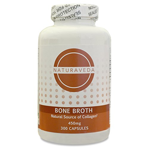 Bone Broth Protein Capsules – 300 Count (450mg each), Collagen Rich, Non-GMO, Paleo Friendly, Supports Glowing Skin and Healthy Joints, Free Range Chickens, Free of Dairy, Gluten and Soy