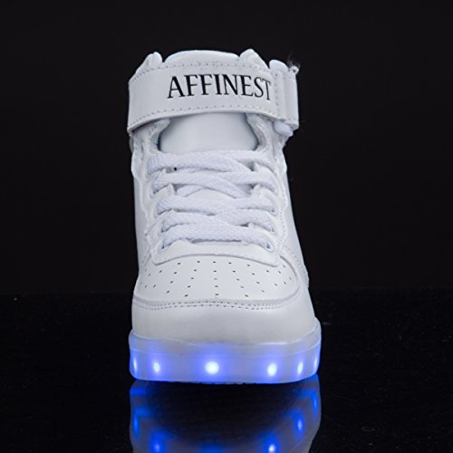 Weiß Schuhe Sneakers Boys Girls Fashion AFFINEST LED Weihnachten Halloween For Top Kinderschuhe Blinken High Aufladen wq8S68Xx