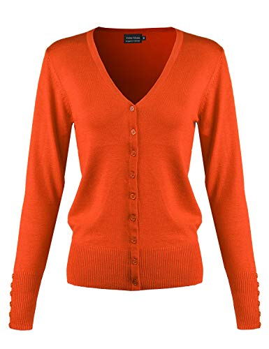 Instar Mode Women's Classic Button Down Long Sleeve V-Neck Soft Knit Sweater Cardigan [S-3XL] Orange M