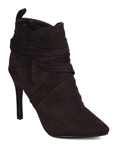 Breckelles GK85 Women Faux Suede Pointy Toe Wraparound Stiletto Bootie - Black (Size: 8.0)