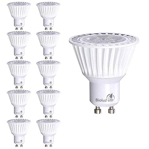 10 Pack Bioluz LED GU10 LED Bulbs Dimmable 3000K 50W Halogen Replacement 120v UL Listed (Pack of 10)