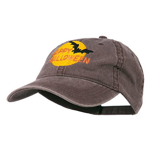 Happy Halloween Full Moon Embroidered Washed Dyed Cap - Brown -