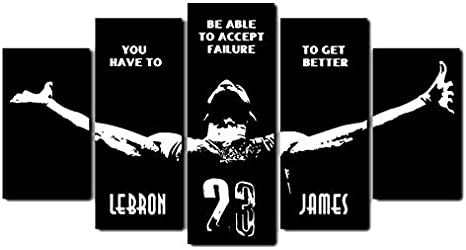Amazon Com Lebron James Quotes Wall Art Home Wall Decorations For Bedroom Living Room Oil Paintings Canvas Prints 568 Framed 5 Pieces Posters Prints