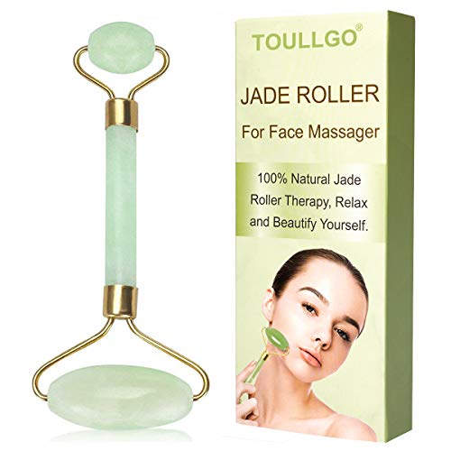 (Jade Roller, Jade Roller For Face, Jade Facial Roller, Anti Aging Jade roller Therapy 100% Natural jade facial roller double Neck Healing Slimming Massager)