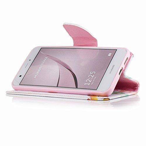 Custodia Huawei nova Cover Case, Ougger Farfalle Portafoglio PU Pelle Magnetico Stand Morbido Silicone Flip Bumper Protettivo Gomma Shell Borsa Custodie con Slot per Schede