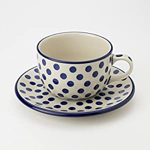 Polish Pottery Teacup and Saucer – Small Blue Dot – 200mk