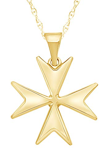 wishrocks 14K Solid Yellow Gold Maltese Cross Pendant Necklace