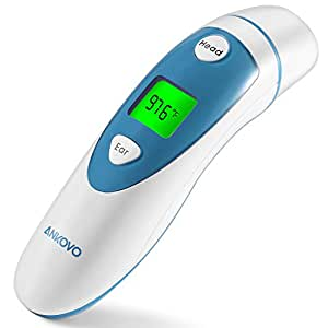 ANKOVO Digital Medical Infrared Forehead and Ear Thermometer for Baby ,Kids and Adults with Fever Indicator CE and FDA Approved