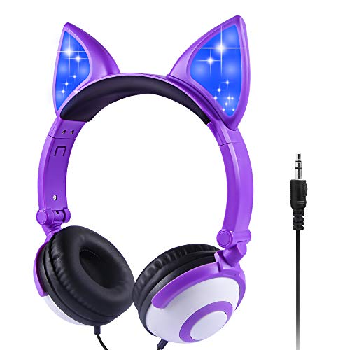 Sunvito Kids Headphones for Girl, Glowing Kids Headset with 3.5mm Jack, 85dB Volume Control for Hearing Protection, Cat…