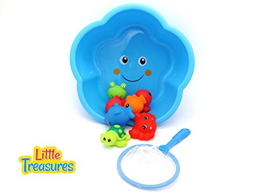 Little Treasures Baby Bath Sea Animals Fishing Toy Set 9pc Included a Star Shaped Bowl with a Fishing Net to Catch & Store all The Pray Your Baby Catches by Little Treasures
