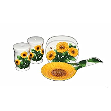 Country Sunflower Painted Stove Top Set, salt and peper shaker, napkin holder, spoon rest 83025/28 by ACK