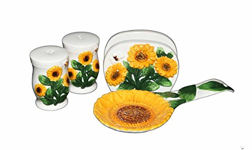 - Country Sunflower Painted Stove Top Set, salt and peper shaker, napkin holder, spoon rest 83025/28 by ACK