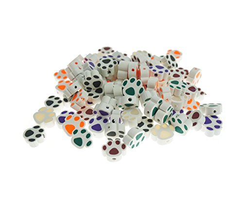 Bilipala Assorted Polymer Clay Beads, Paw Print Charm, Craft Beads for Kids, 100 (Charm Colored Beads)