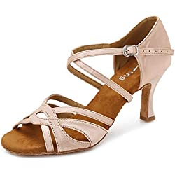 YYTing Women Ballroom Dance Shoes Latin Salsa Bachata Performance Dancing Shoes 3inch(8.5, Nude)