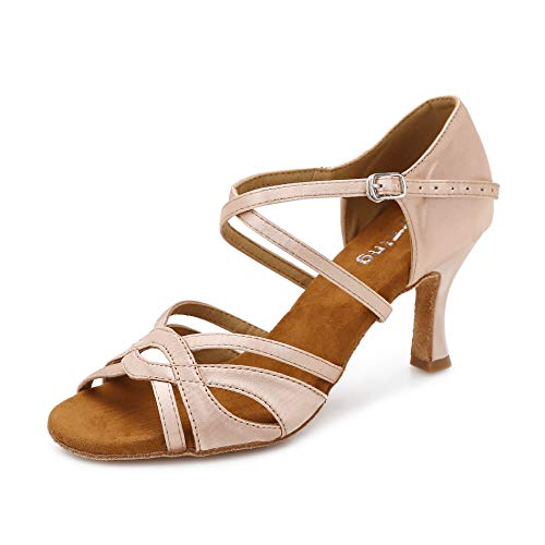 YYTing Women Ballroom Dance Shoes Latin Salsa Bachata Performance Dancing Shoes 3inch(7, Nude)
