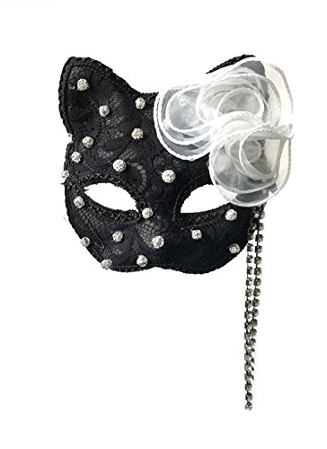 LY-YY New Masquerade Halloween Christmas Party Carnival Cat Girl Cat Mask Black and White Full Face Sexy Female