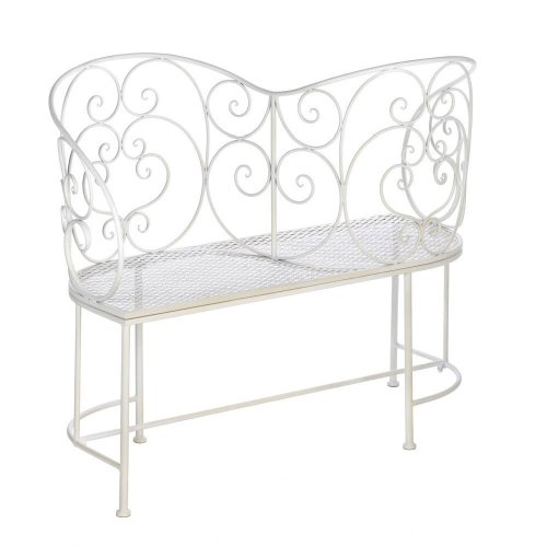 41Fhyr1iQIL Home Locomotion Romantic White Metal Couple Bench (1066-10015689)