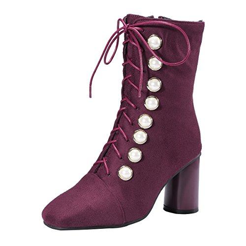 YE Damen Blockabsatz Ankle Boots Stiefeletten High Heels mit Schnürung und Perlen Absatz 7cm Elegant Schuhe Rot