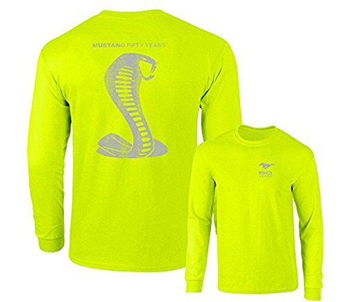 Mustang 50 Years Ford 50 Shelby Gray Snake Long Sleeve TEE F & B,Safety Green,3X ()
