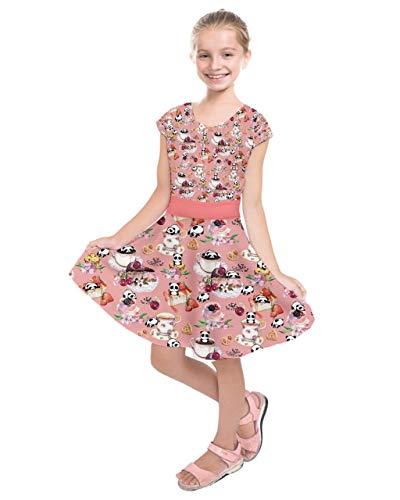 PattyCandy Girls Cakes Candy Macaroon Panda Kids Short Sleeve Dress - 7