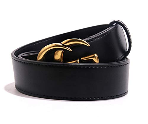 Ladies Slim Belt - Leather Slim Belt Gold Buckle Black Womens Men Leather Belt (3.4cm width) (95cm Fit Waist 26