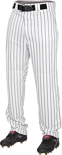 Rawlings Men's Semi-Relaxed Pants with Pin Stripe Design, Large, White/Black