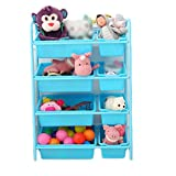 Blue Toy Storage Organiser Cart with Wheels and Removable Plastic Bins (Color : Blue, Size : 64 * 28.5 * 90cm)