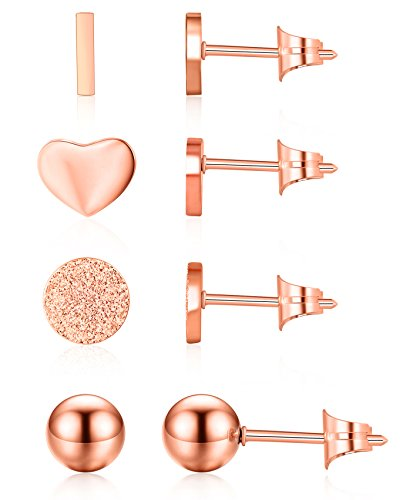 Pink Rose Heart - Ruarua Rose Gold Stud Earrings for Women Stainless Steel Heart Mini Bar Earring Line Ear Studs Stick (Rose Gold)