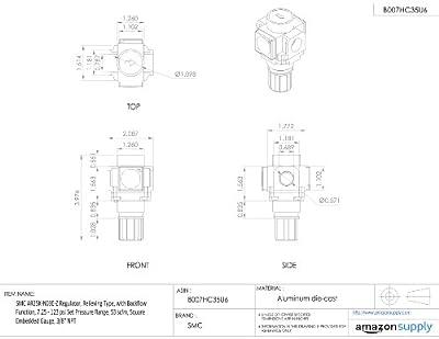 "SMC AR25K-N03E-Z Regulator, Relieving Type, with Backflow Function, 7.25 - 123 psi Set Pressure Range, 53 scfm, Square Embedded Gauge, 3/8"" NPT"