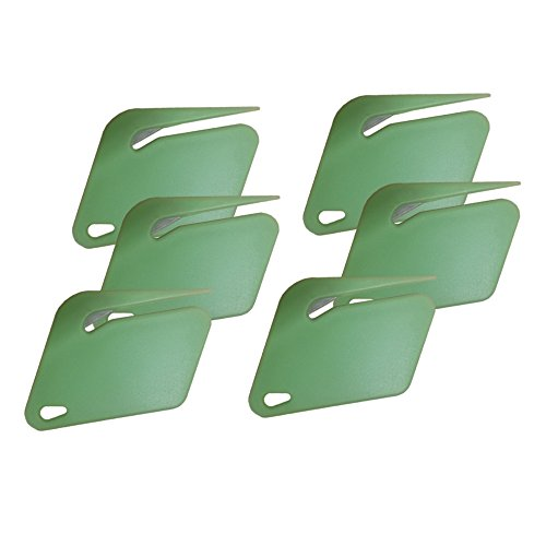 (Plastic Letter Opener, Envelope Slitter With Concealed Steel Blade - Green - 6 Pack. By Mega Stationer)