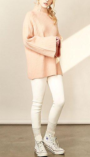 Pullover Donna Elegante Autunno Invernali Longsleeve Maniche Tromba Maglione High-Neck Puro Colore Rosa Maglieria Partito Casual Baggy Maglie Tops One Size