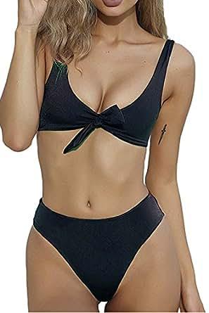 BUTTZO Fashion Women Tie Knot Front Bikini Set Beach Bathing Suit (Small, Black)