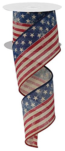 "2.5"" Stars & Stripes Ribbon: Tan, Red & Blue"