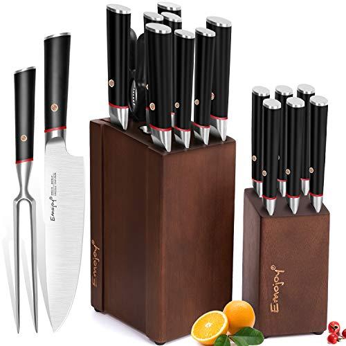 Knife Set, Emojoy 16-Piece Kitchen Knife Set with Detachable Wooden Block, Double-Steel Steak...
