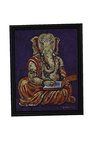ganesha-drybrush-paper-painting-with-frame-10-by-8