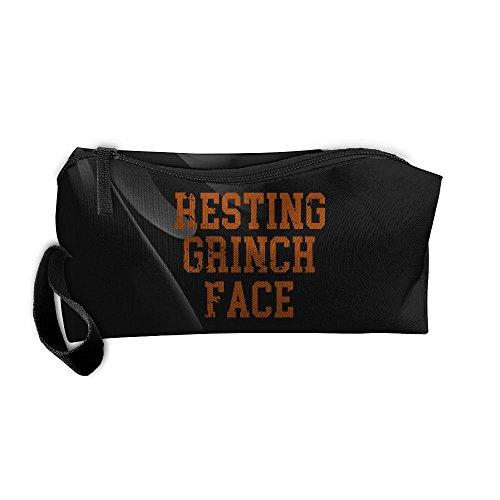 Resting Grinch Face Portable Zipper Storage Bag Portable Storage Pouch Travel Makeup Bag]()