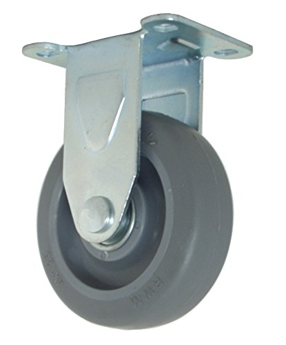 "RWM Casters VersaTrac 27 Series Plate Caster, Rigid, TPR Rubber Wheel, Ball Bearing, 275 lbs Capacity, 4"" Wheel Dia, 1-1/4"" Wheel Width, 5-1/4"" Mount Height, 3-3/4"" Plate Length, 2-5/8"" Plate Width from RWM Casters"
