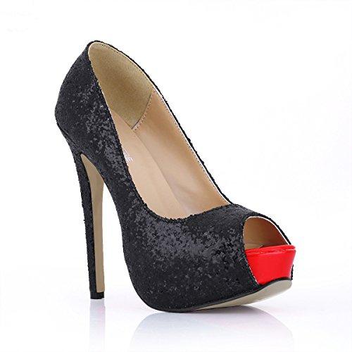 La El Nuevo En Pescado Brillante De Alto Mujeres Black heel Shoes Mujer Occidentales Zapatos Negra Clic Película Punta Cenas Haga pOSEqwZO