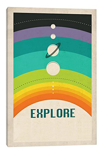 iCanvasART Solar System (Colored) Canvas Print, 40'' x 0.75'' x 26''