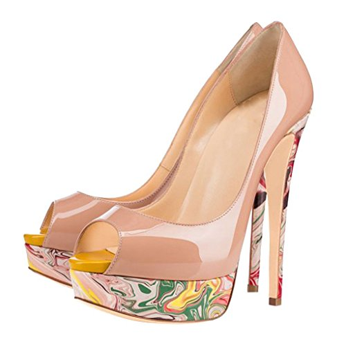 Cawinner Toe Slip B Peep Stiletto 16CM Beige Calaier Pumps Womens on Shoes YPtqwxq5
