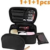 Travel Makeup Bag,wllife Makeup Bag Organizer Cosmetic Makeup Bags for Women Make Up Cosmetic Bag Case with Brush Holder-Bonus Cosmetic Pouch (Black)