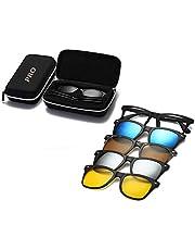 نظارة شمسية مستقطبة عاكسة للرؤية الليلية 5 مشبك مغناطيسي لون أسود