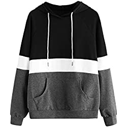 DIDK Women's Hoodies Long Sleeve Splice 3 Color Hooded Sweatshirt Black Grey M