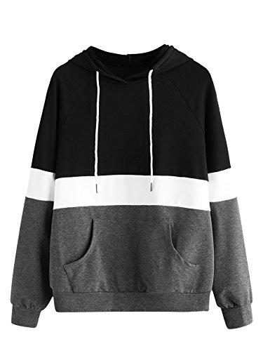 DIDK Women's Hoodies Long Sleeve Splice 3 Color Hooded Sweatshirt Black Grey -