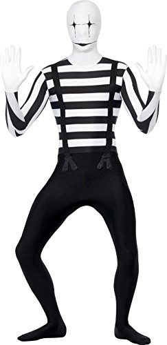 [Smiffy's Men's Mime Second Skin Costume, Bum Bag, Concealed Fly and Under Chin Opening, Legends of Evil, Halloween, Size M, 24619] (Mime For Halloween)