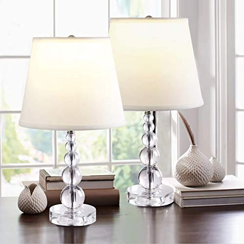 2 x Crystal Table Lamp, Nightstand Decorative Room Desk Lamp With White Fabric Shade, Night Light Lamp, Stacked Crystal Ball Table Lamps for Bedroom, Living Room, Kitchen, Dining Room