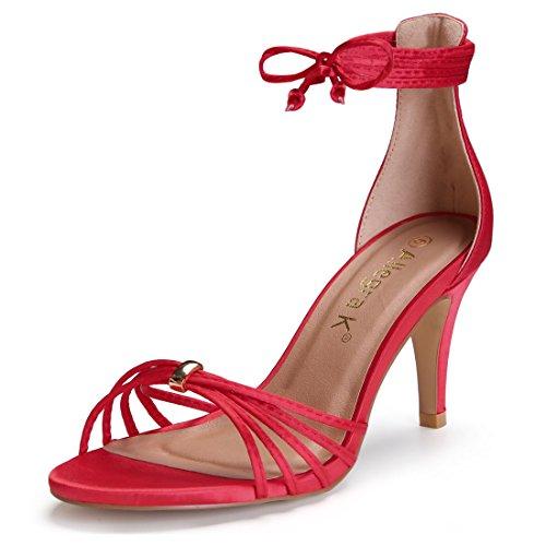 Allegra Rosso Alto Donne 8 Sandali US Aperta Stiletto Punta Tacco K Stringato FU4rPqyAF