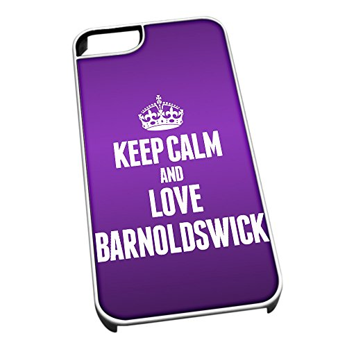 Bianco cover per iPhone 5/5S 0042 viola Keep Calm and Love Barnoldswick
