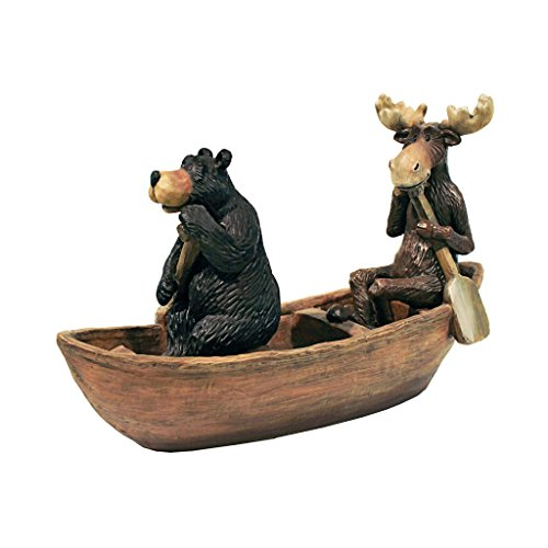 - Design Toscano Moose and Black Bear in a Boat Statue