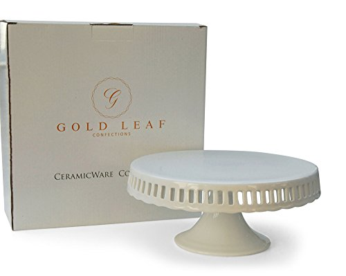 Pedestal Footed Cake Stand with Interchangeable Ribbon Trim (Includes 3 Grosgrain Ribbons) - Perfect for Wedding Cakes Baby Showers Birthdays, 10-inch Round Ceramic Pedestal